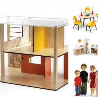 Domeček pro panenky - moderní domek - set s nábytkem a s rodinou Toma a Marion
