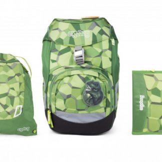 Školní set Ergobag prime zelený - batoh + penál + sportovní pytel