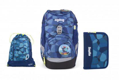 Školní set Ergobag prime Blue Stones 2019 - batoh + penál + sportovní pytel