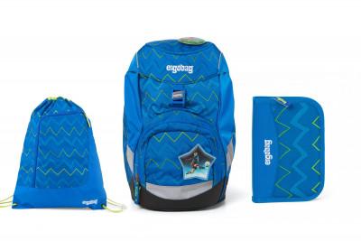Školní set Ergobag prime Modrý zig zag 2020 - batoh + penál + sportovní pytel