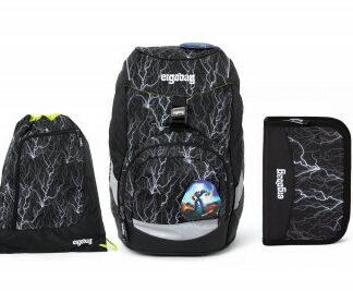 Školní set Ergobag prime Black 2020 reflexní - batoh + penál + sportovní pytel