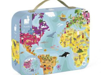 Dětské oboustranné puzzle v kufříku - Zeměkoule - 208 ks