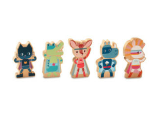 Lilliputiens - set dřevěných postaviček - superhrdinové